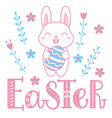 easter card with a cute bunny and lettering vector image