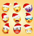 emoticon set yellow face with emotions vector image