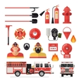 Firefighter Isolated Colored Icon Set vector image vector image