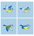 flying blue tit animation sprite sheet vector image vector image