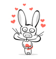 Funny bunny with hearts vector image