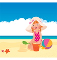Girl playing on the beach vector image