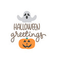 greeting with pumpkin image for halloween vector image vector image