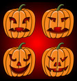 halloween pumpkin collection hand drawn sketch vector image