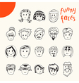 Hand drawn cartoon funny faces collection Doodle vector image