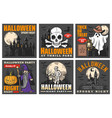 haunted house with halloween ghost and pumpkins vector image vector image
