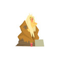 homeless man character in dirty rags sitting on vector image vector image