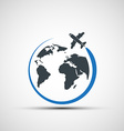 icons airplane fly around the planet earth vector image