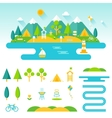 Lake beach woods and mountains summer landscape vector image vector image