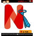 letter n with necktie cartoon vector image vector image