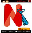 letter n with necktie cartoon vector image vector image