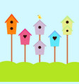 nesting box with bird vector image vector image