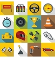 Racing speed icons set flat style vector image vector image