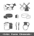Retro farm elements vector image