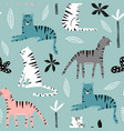 seamless pattern with tigers palm branch and vector image vector image