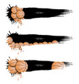 set grunge banners with blots and basketball balls vector image vector image