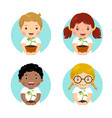 set kids holding young plant vector image vector image