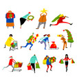 shopping people set christmas sale collection vector image vector image