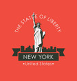 statue liberty in backdrop new york skyline vector image vector image
