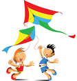 Two kids playing with kites vector image vector image