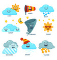 weather forecast elements with faces and signs set vector image