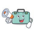 with megaphone suitcase character cartoon style vector image