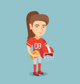 young caucasian female rugby player vector image