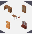 isometric design set of cupboard drawer chair vector image
