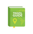 travel guide book icon world map and pin in cover vector image