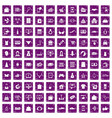 100 online shopping icons set grunge purple vector image vector image