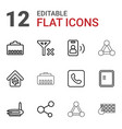 12 connection icons vector image vector image