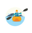 a man riding a canoe in the lake vector image