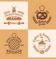 bakery and pastries four colored emblems vector image vector image
