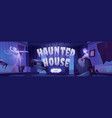 banner haunted house with ghosts vector image vector image