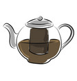 black tea in tea pot on white background vector image