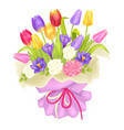 bouquet of flowers in decor wrapping tulips crocus vector image vector image