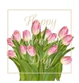 Bunch of pink tulips EPS 10 vector image