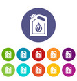 canister oil icons set color vector image vector image
