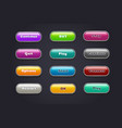 cartoon buttons colorful video game ui elements vector image