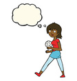 cartoon soccer girl with thought bubble vector image vector image