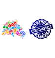 christmas sale composition of mosaic map of berlin vector image vector image