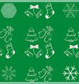 christmas seamless pattern on green background vector image vector image