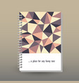 cover of diary or notebook retro polygonal pattern vector image vector image