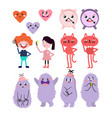 cute cartoon funny monsters heart love boy vector image vector image