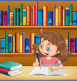 cute girl writing in notebook in library vector image