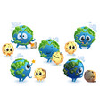 cute planet earth and moon characters vector image
