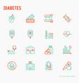 diabetes thin line icons set vector image
