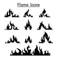 fire flames icon set vector image