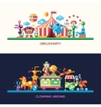 Flat design circus and carnival banners headers