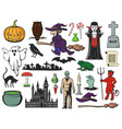 halloween icons ghost witch zombie vampire vector image vector image